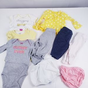 Baby Girl Clothes 10 pieces tops bottom sz 3 Month